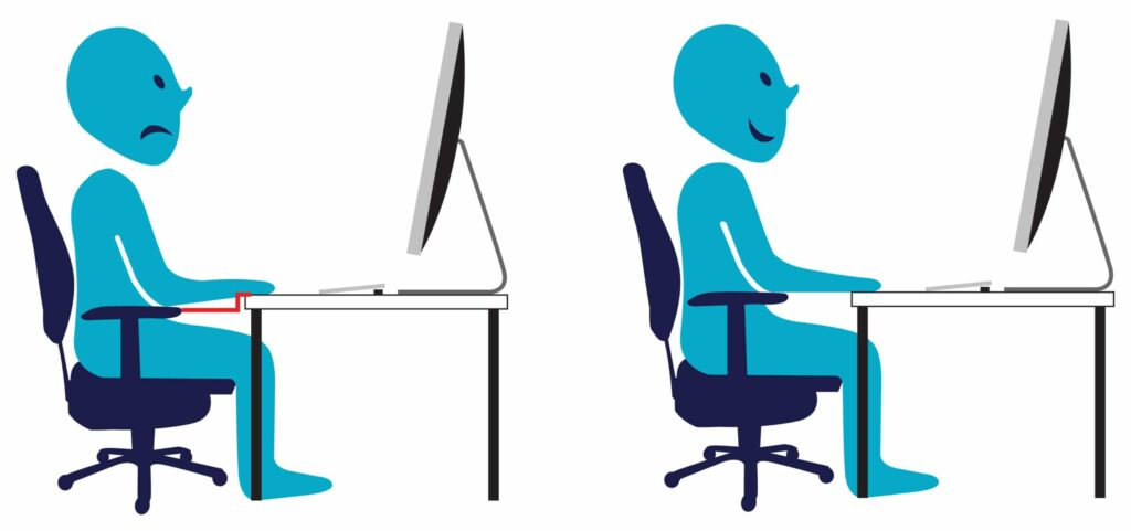 instellen bureaustoel en bureau