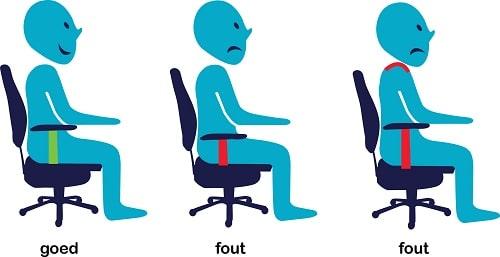 verkeerde armleggerhoogte bureaustoel