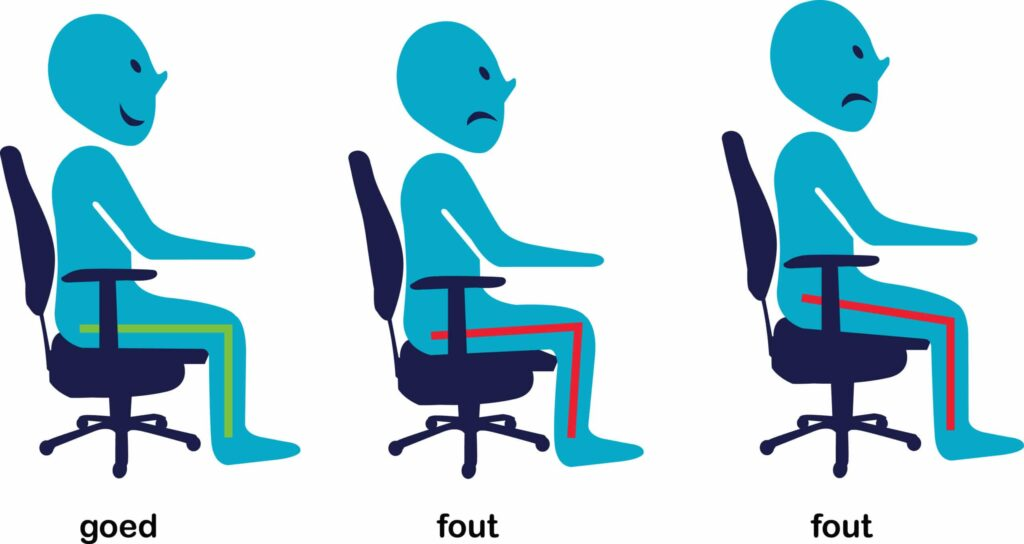 zithoogte bureaustoel instellen