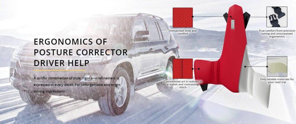 Speciale vormgegeven rugkussen voor lendestuen in de auto voor chauffeurs met rugklachten