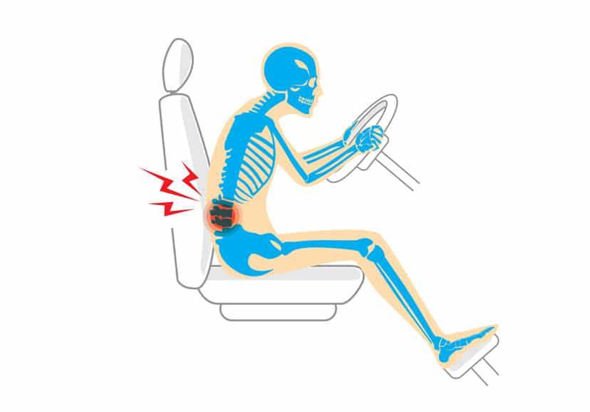 Rugpijn in de auto
